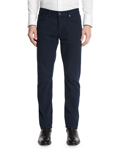 Straight-Fit Solid Wash Denim Jeans, Navy