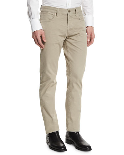 Straight-Fit Solid Wash Stretch Denim Jeans, Tan