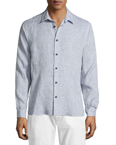 Morton Classic Long-Sleeve Linen Shirt, Navy