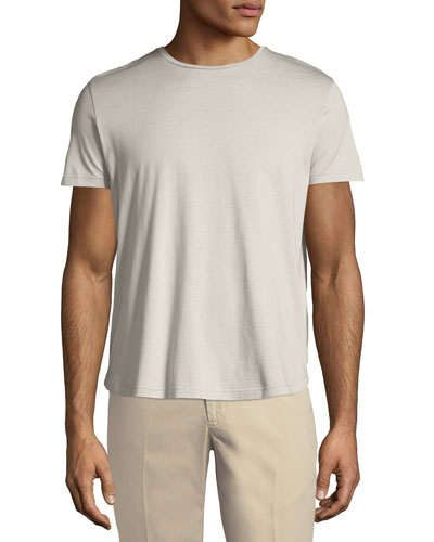Silk & Cotton Jersey T-Shirt, Silver Gray