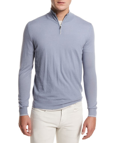 Super Light Cashmere Half-Zip Sweater, Stone Jeans