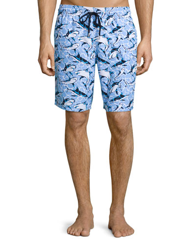 Okoa Shark-Print Swim Trunks, Blue