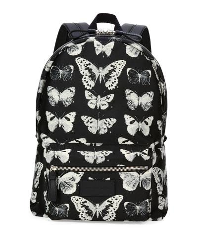 Moth-Print Backpack, Black/Ivory