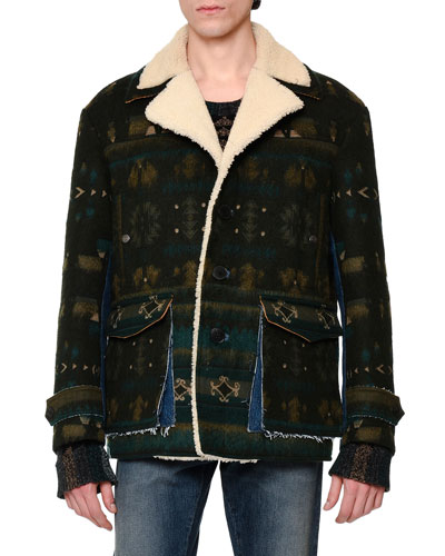 Tribal Shearling-Lined Jacket, Green Multi
