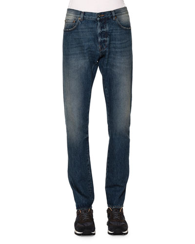Slim-Straight Denim Jeans, Light Blue