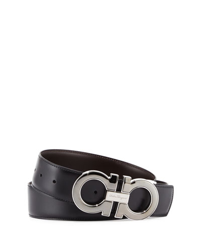 Reversible Leather Gancini-Buckle Belt, Black/Brown