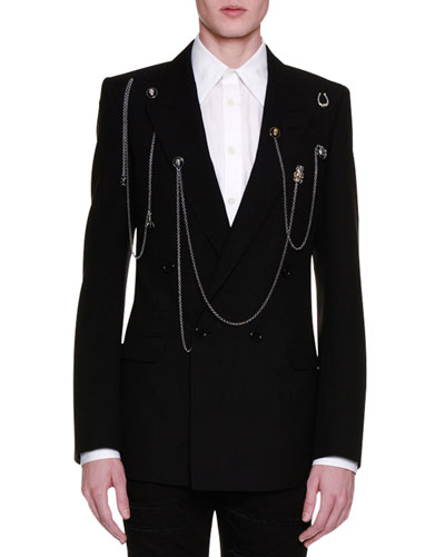 Double-Breasted Blazer w/Pins & Chains