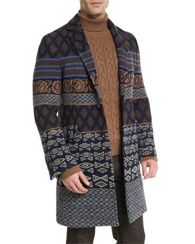 Tribal Pattern Single-Breasted Coat