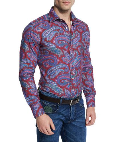 Paisley-Print Long-Sleeve Sport Shirt