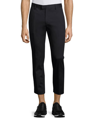 Slim-Fit Cropped Trousers, Navy