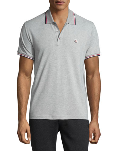 Stripe-Tipped Short-Sleeve Polo Shirt, Gray