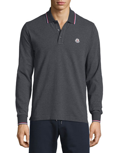 Tipped Long-Sleeve Polo Shirt, Charcoal