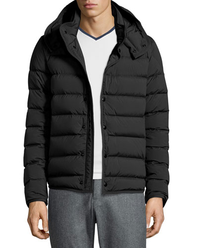 Nazaire Lightweight Hooded Puffer Jacket, Black