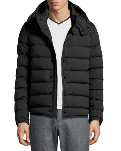 Nazaire Lightweight Hooded Puffer Jacket, Black