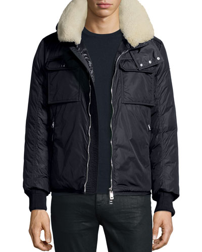 Darwin Shirt Jacket w/Shearling Collar, Navy