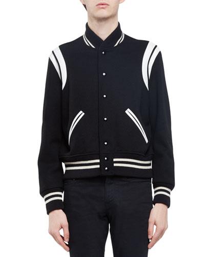 Classic Teddy Varsity Jacket, Black