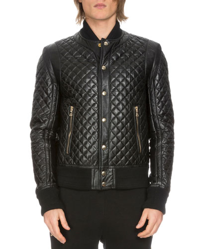 Diamond-Quilted Leather Bomber Jacket, Black