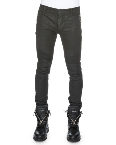 Coated Skinny Biker Denim Jeans, Noir