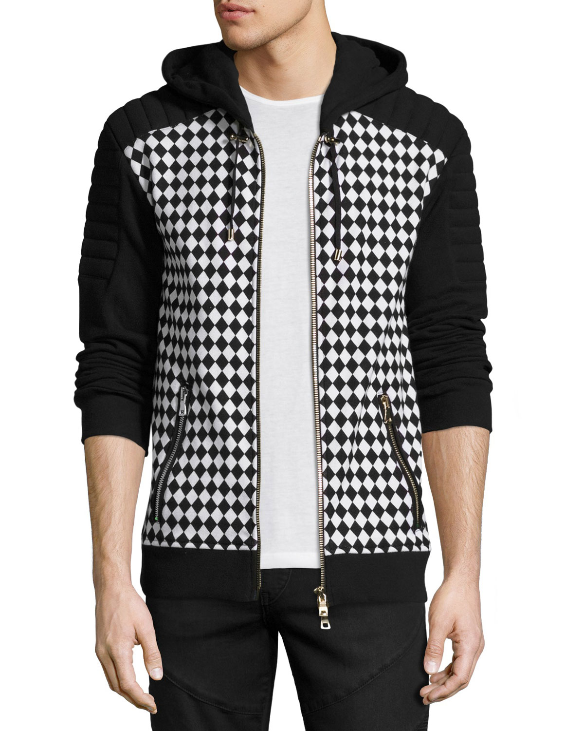 Checker-Print Zip-Front Sweatshirt, Black/White