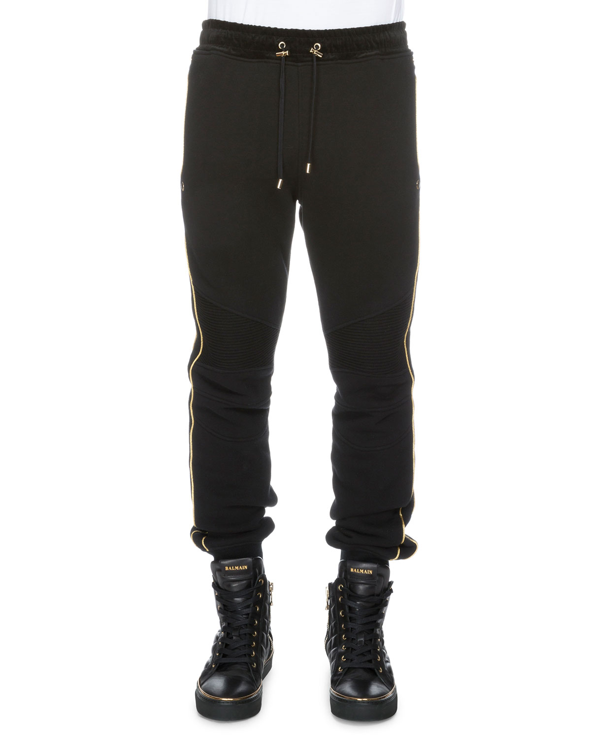 Cotton Sweatpants w/Metallic Piping, Black