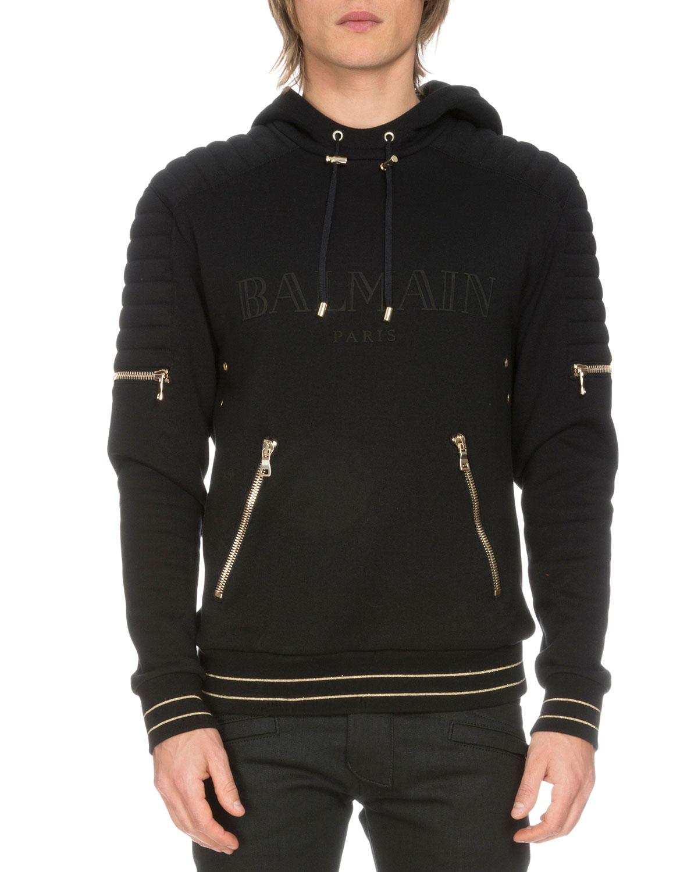 Logo Biker Hoodie Sweatshirt, Black