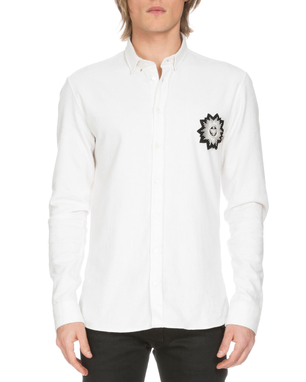 Cotton Sport Shirt w/Embroidered Patch, White