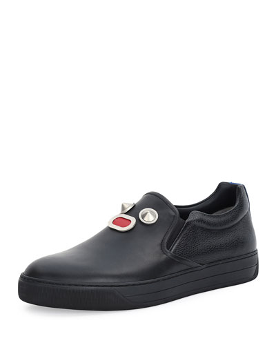 Metal-Face Leather Slip-On Sneaker, Black