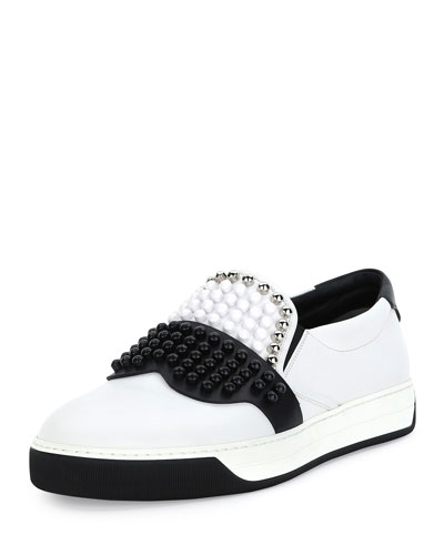 Karlito Beaded-Top Leather Slip-On Sneaker, White
