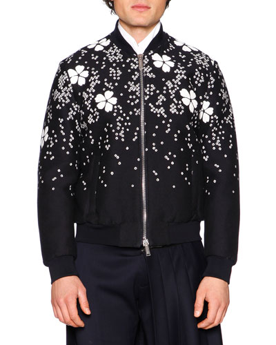 Embroidered Cherry Blossom Bomber Jacket, Black/White
