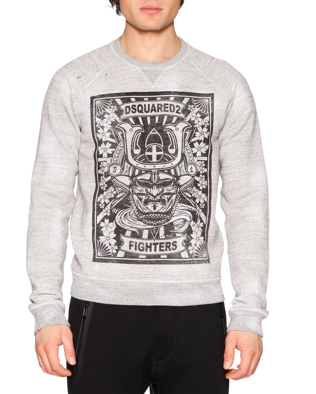 D2 Fighter Crewneck Graphic Sweatshirt, Gray