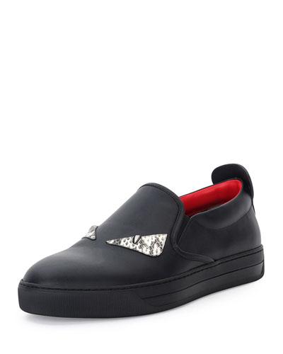 Monster Eyes Leather Slip-On Sneaker, Black