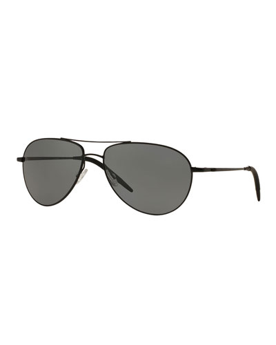 Benedict 59 Metal Aviator Sunglasses, Black