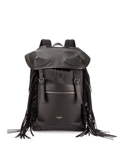 Rider Men's Leather Backpack with Fringe, Black