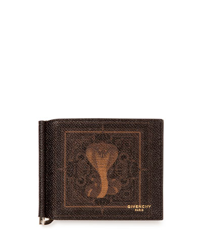 Men's Coated Canvas Cobra-Print Money Clip Wallet, Black