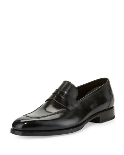 Wessex Leather Penny Loafer, Black