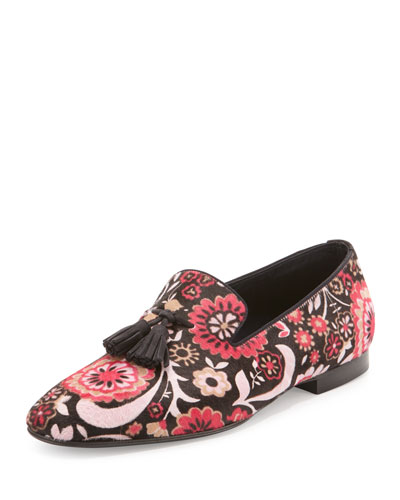 Chesterfield Floral-Print Calf Hair Tassel Loafer