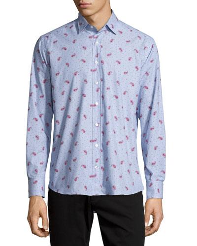 Paisley & Dot-Print Long-Sleeve Sport Shirt, Red/Light Blue
