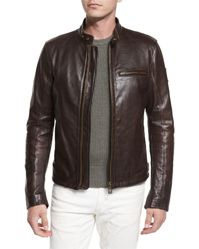 Speedway Leather Moto Jacket, Brown