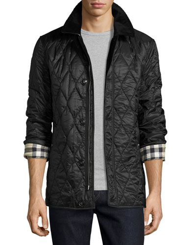 Corduroy-Collar Quilted Jacket, Black