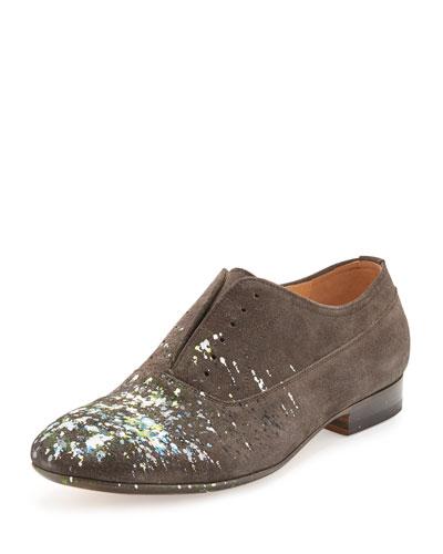 Paint-Splatter Laceless Oxford Shoe, Charcoal