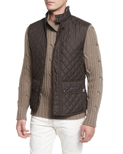 Lightweight Quilted Tech Vest, Mahogany