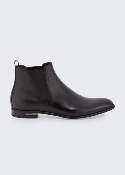 Saffiano Leather Chelsea Boot, Black