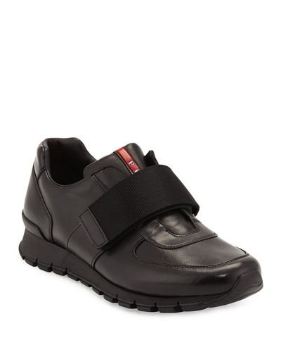Strap-Front Leather Running Sneaker, Black