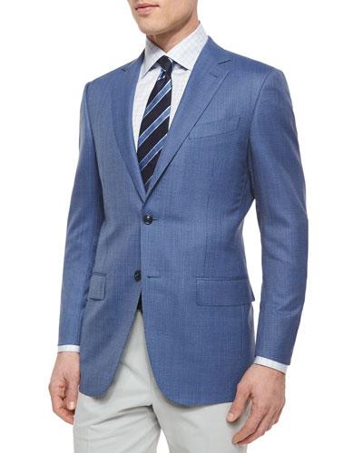 Micro-Check Wool Blazer, Blue