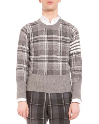 Plaid Intarsia Wool Sweater, Medium Gray