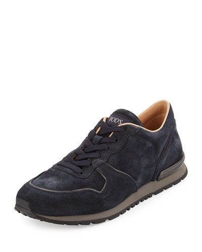 Suede Lace-Up Trainer Sneaker, Navy/Black