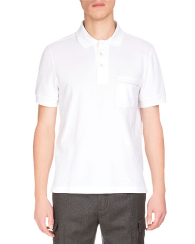 Short-Sleeve Polo Shirt w/Striped Pocket, White