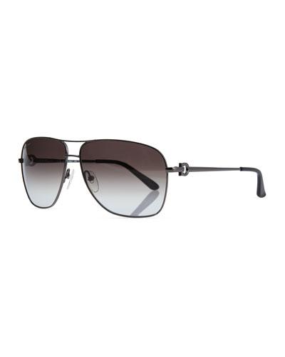 Navigator Metal Sunglasses, Gunmetal