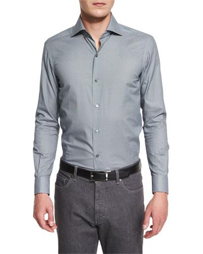 Umbrella-Print Long-Sleeve Sport Shirt, Green