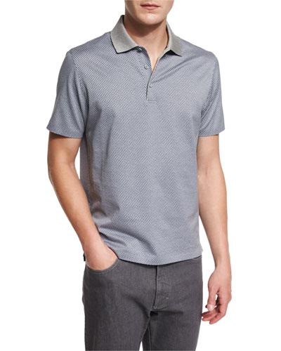 Printed Short-Sleeve Polo Shirt, Gray